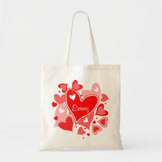 Named Valentine's Hearts Budget Tote Bag