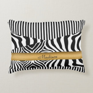 Named Zebra and Stripes Decorative Pillow