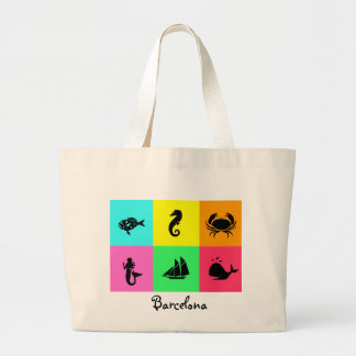 Namedrop Nation_Barcelona_multi-color Large Tote Bag