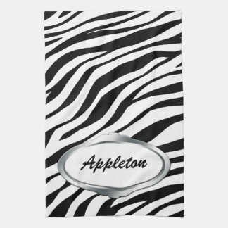 Nameplate Design Black & White Zebra Print Towel