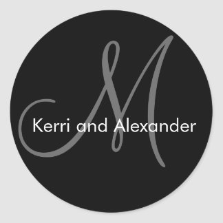 Names and Monogram Wedding Sticker Black Grey
