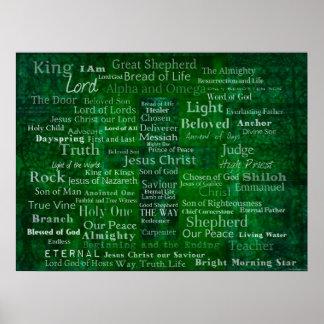 Names and titles of Jesus MODERN DESIGN art Poster