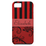 Names Initials Monograms Stripes Damask Red Black