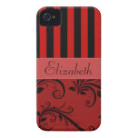 Names Initials Monograms Stripes Damask Red Black Case-Mate iPhone 4 Cases