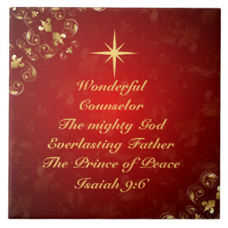 Names of God Bible Verse Isaiah 9:6, Christmas Tile
