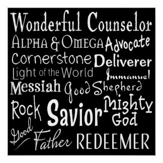 Names of God from the Bible in Black and White Perfect Poster