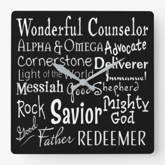 Names of God from the Bible in Black and White Square Wall Clock