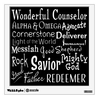 Names of God from the Bible in Black and White Wall Decal