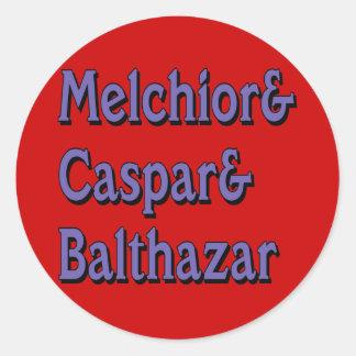 Names of the Three Wisemen Round Sticker
