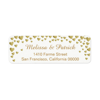 names with love hearts confetti on white wedding