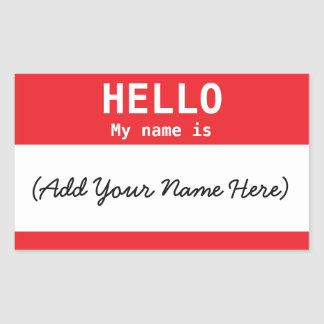 Nametag Personalized Red for Work or Meeting Sticker