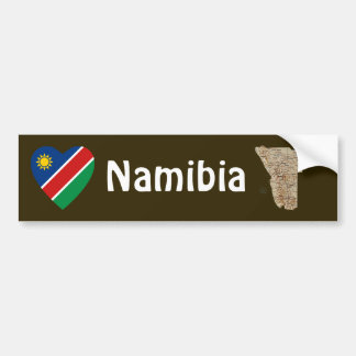 Namibia Flag Heart + Map Bumper Sticker