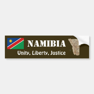 Namibia Flag + Map Bumper Sticker
