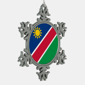 Namibia Flag Snowflake Pewter Christmas Ornament