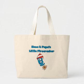 Nana and Papa's Little Firecracker Tshirts Jumbo Tote Bag