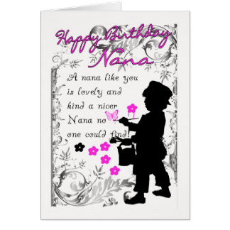 nana birthday card with little boy silhouette