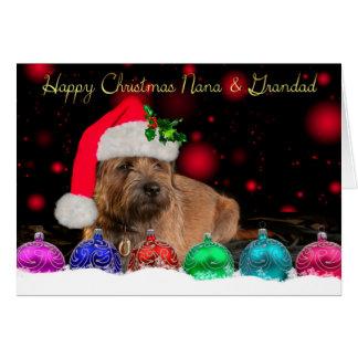 Nana & Grandad Border Terrier In Santa Hat Card