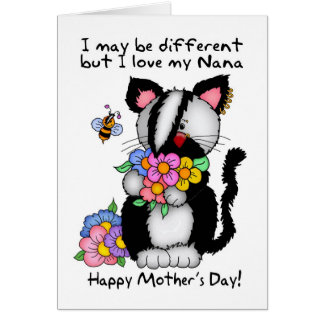 Nana Mother's Day Card - Punk/Rock/Emo Cat And Bee