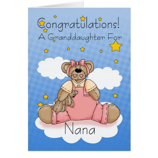 Nana New Baby Girl Congratulations Cards