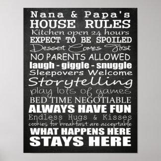 Nana & Papa's House Rules Chalkboard Poster