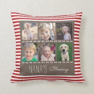 Nana's Blessings Photo Collage Red & White Stripes Throw Pillow