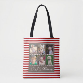 Nana's Blessings Photo Collage Red & White Stripes Tote Bag