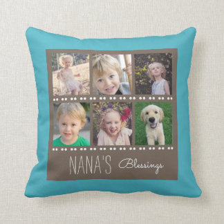 Nana's Blessings Photo Collage Teal and Brown Throw Pillow