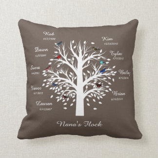 Nana's Flock, Family Tree; 9 Birds w/ Names, Dates Throw Pillow