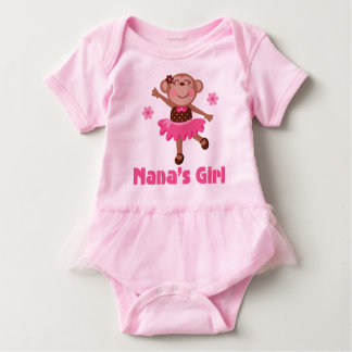 Nana's Girl Grandchild Monkey Ballerina Tutu Tee