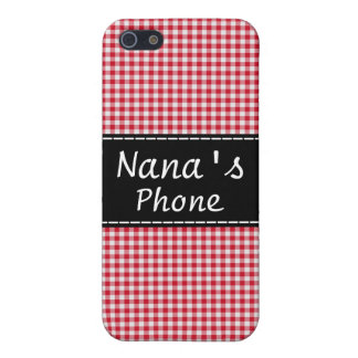 Nana's Phone Case - Red Gingham iPhone 5 Cases