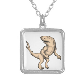 Nanaue Fighting Stance Tattoo Silver Plated Necklace