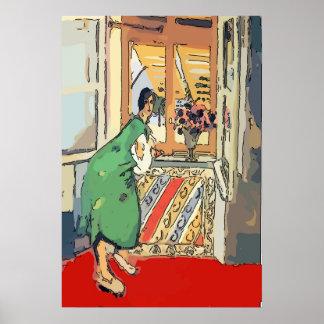 Nancy at window in Destin Poster