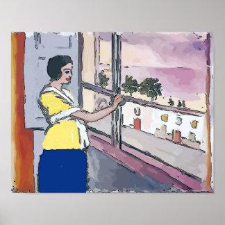 Nancy at window in watching her children poster