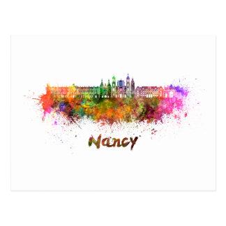 Nancy skyline in watercolor postcard