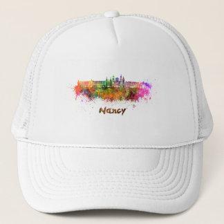 Nancy skyline in watercolor trucker hat