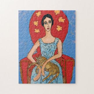 Nancy with Sitting Cat Jigsaw Puzzle