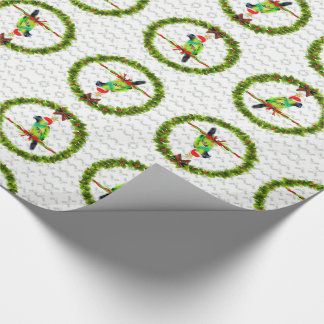 Nanday Concure Parrot in Santa Hat for Christmas Wrapping Paper