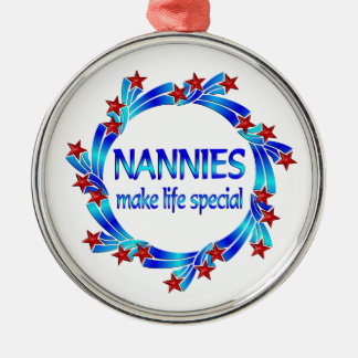 Nannies Make Life Special Silver-Colored Round Ornament