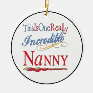 Nanny incredible round ceramic ornament