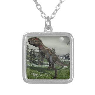 Nanotyrannus dinosaur - 3D render Silver Plated Necklace