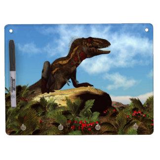 Nanotyrannus dinosaur resting - 3D render Dry Erase Board With Keychain Holder