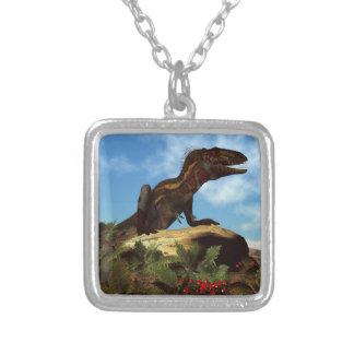 Nanotyrannus dinosaur resting - 3D render Silver Plated Necklace