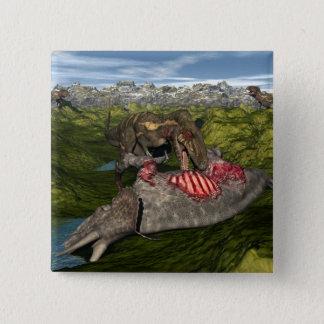 Nanotyrannus eating dead triceratops 2 inch square button