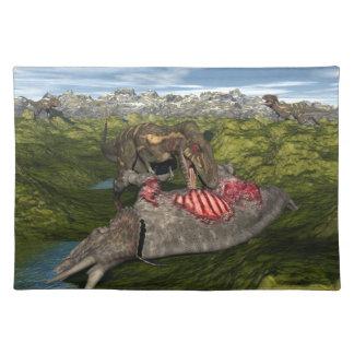 Nanotyrannus eating dead triceratops placemat