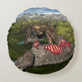 Nanotyrannus eating dead triceratops round pillow