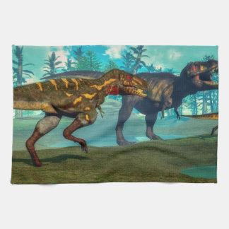 Nanotyrannus hunting small tyrannosaurus hand towel