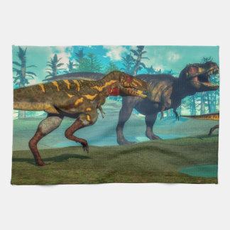 Nanotyrannus hunting small tyrannosaurus towels