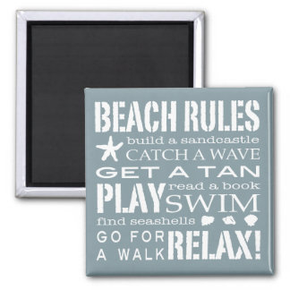 Nantucket Beach Rules Blue & White Square Magnet