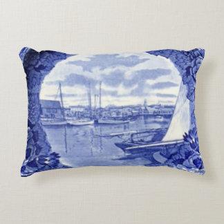 Nantucket Blue & White China  Harbor print pillow