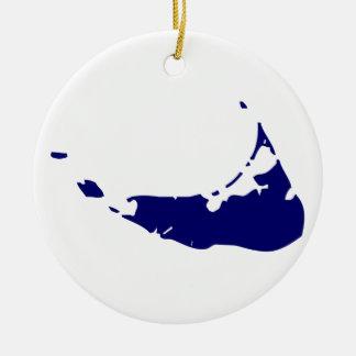 Nantucket Island Blue Round Ceramic Ornament